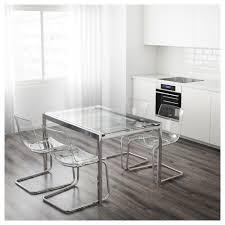 Glivarp Extendable Table Transparent Chrome Plated 125 188x85 Cm Ikea