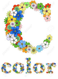 letter c and word color floral vector royalty free cliparts