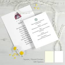 wedding table menus personalise online at honeytree
