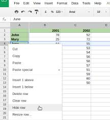 hiding rows and columns in google sheets drive bunny
