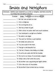 16 best images of figurative language simile metaphor worksheet