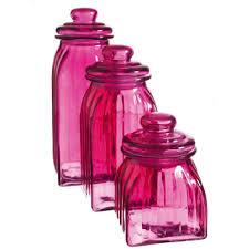 pink canisters kitchen evergreen enterprises glass jar set of 3 pink