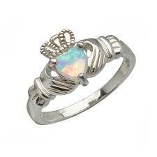 clatter ring october claddagh ring with faux opal