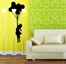 banksy silhouette girl flying to dream land using balloons vinyl banksy silhouette girl flying to dream land using balloons vinyl wall decal sticker banksy artistic mural wall decor home improvement