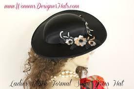 women u0027s black satin designer fashion hat with silver and black