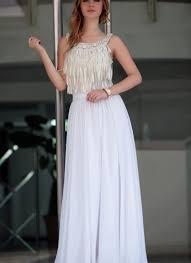 Halter Neck Wedding Dresses Mariel In Halter Neck Wedding Dress With Fringe