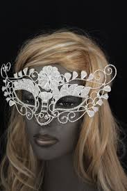 white silver leaves and flower back tie half face mask halloween