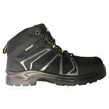 stanley pro lite hiker mid men size 7 black leather mesh steel toe