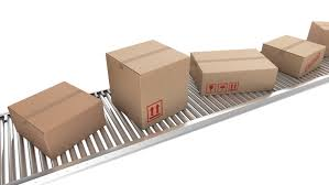 animation of cardboard boxes on a conveyor belt loopable stock
