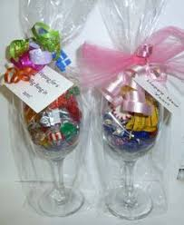 wine glass gifts great idea for a thank you fill a wine glass with a shred