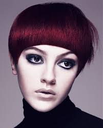 no part weave hairstyles a short red hairstyle from the aveda collection no 22467