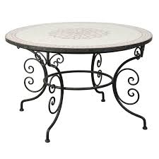 Moroccan Patio Furniture Moroccan Outdoor Round Mosaic Tile Dining Table On Iron Base 47 In