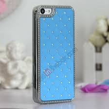 light blue iphone 5c case bling chrome hard rhinestone back case cover protector for