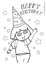 coloring pages happy birthday dora