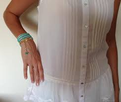boho wrap wrap leather bracelet jewelry mint green bracelet handmade
