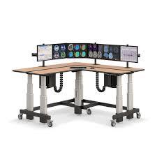 L Shaped Adjustable Height Desk Dual Tier L Shaped Corner Sit To Stand Desk Afcindustries Com