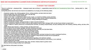 maid and housekeeping cleaner work experience certificate