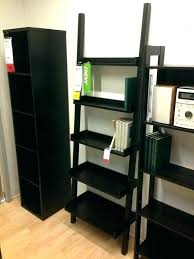 black leaning bookcase leaning ladder 5 shelf bookcase large size