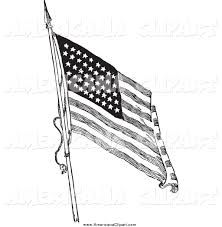 Black And White American Flag Americana Vector Clip Art Of A Black And White American Flag