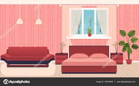 bright colors bedroom interior with furniture and winter landscape