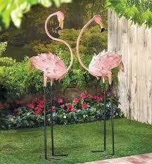 2 flamingos statue iron yard garden stakes pink birds