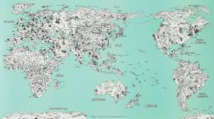 World Map Wall Poster by Sketch Drawing Traveler Wall Decor World Map Poster Antique Alive
