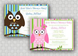 owl baby shower invitation look whoos a baby stripes
