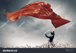 Burning Red Flag Woman Waving Red Flag Mixed Media Stock Photo 454085059 Shutterstock