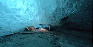 diving into the heart of a crystal cave hiking on the moon