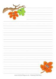 Thanksgiving Writing Pages Autumn Writing Paper