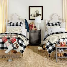 Black And White Bed Bedrooms Ticking Stripe Twin Beds And Twins