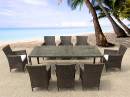 Outdoor Resin Chairs Rattan Garden Furniture Set Verdi Grande Table 220 Cm With 8 Chairs