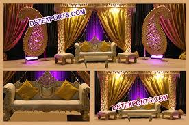 muslim wedding decorations wedding lighted gold stage set