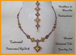 diy necklace set images Tutorial beaded diamond tile jewelry with pearls and bicones jpg