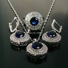 blue cubic zirconia necklace images Cubic zirconia jewelry sets green blue necklace female earrings jpg