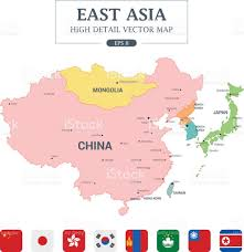 Asia Map by East Asia Map Full Color High Detail Separated All Countries