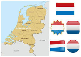 netherlands map netherlands map and flags free vector stock