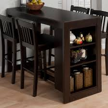 small dining table set dark espresso wooden counter height table with storage and four