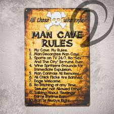 man cave rules shabby chic tin signs bar pub cafe home wall art