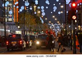 Christmas Decorations Oxford Street - oxford street christmas street decoration at evening london stock
