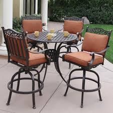 Bar Set Patio Furniture by Darlee Charleston 5 Piece Cast Aluminum Patio Bar Set With Swivel