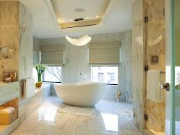 awesome modern bathroom with white oval bath tub nestled among