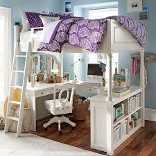 bedroom teenage loft bunk bed made of wood in white