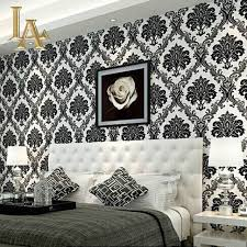 damask home decor european embossed flocking black damask wallpaper 3d living room
