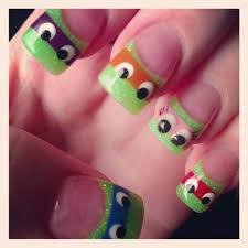 ninja turtle nails with a little extra one added nail ideas