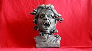 halloween classical interactive animated medusa snake head bust statue halloween prop