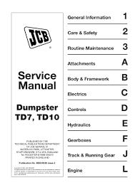 jcb tracked dumpster td10 td10 sl td10hl service repair manual sn1011 u2026