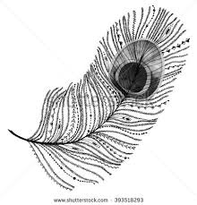 ethnic tribal peacock feather raster watercolor stock illustration