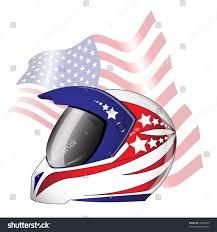American Flag Visor Motorcycle Helmet Red White Blue Stars Stock Vector 78252595