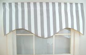 Valances For La Awning Striped Shaped Valance In Grey And Whitenavy And